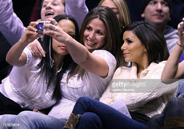 Eva Longoria during Celebrities Attend San Antonio Spurs vs New Jersey Nets Game February 13 2007 at Continental Airlines Arena in New York City New...