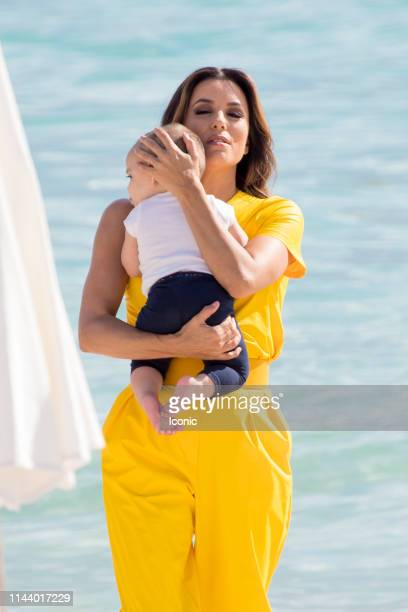 Eva Longoria enjoys some family time at the beach during the 72nd annual Cannes Film Festival at on May 15 2019 in Cannes France