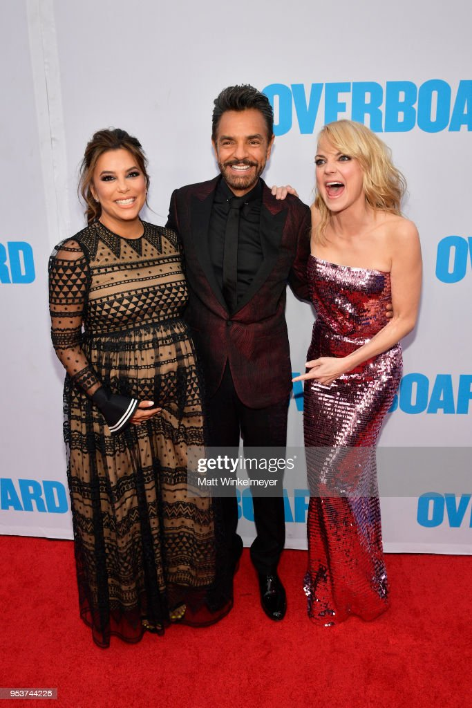 Eva Longoria, Eugenio Derbez and Anna Faris attend the Premiere of Lionsgate and Pantelion Film's 'Overboard' at Regency Village Theatre on April 30, 2018 in Westwood, California.