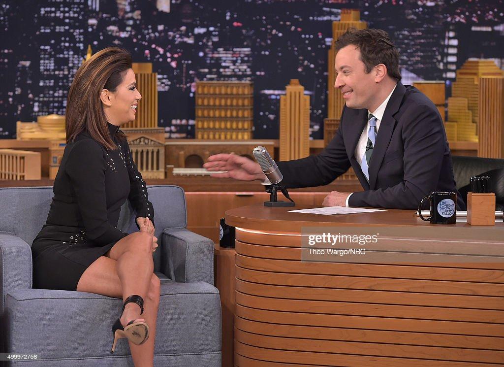 Eva Longoria Farmer Visits 'The Tonight Show Starring Jimmy Fallon' at Rockefeller Center on November 24, 2015 in New York City.