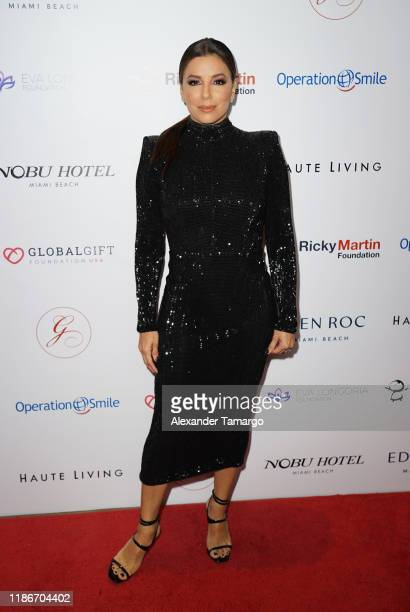 Eva Longoria is seen at the Global Gift Gala during Art Basel 2019 at the Eden Roc Hotel on December 5 2019 in Miami Beach Florida