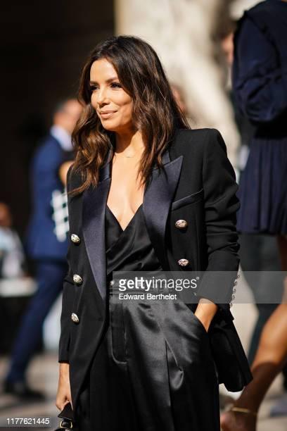 Eva Longoria is seen, outside Balmain, during Paris Fashion Week - Womenswear Spring Summer 2020 on September 27, 2019 in Paris, France.