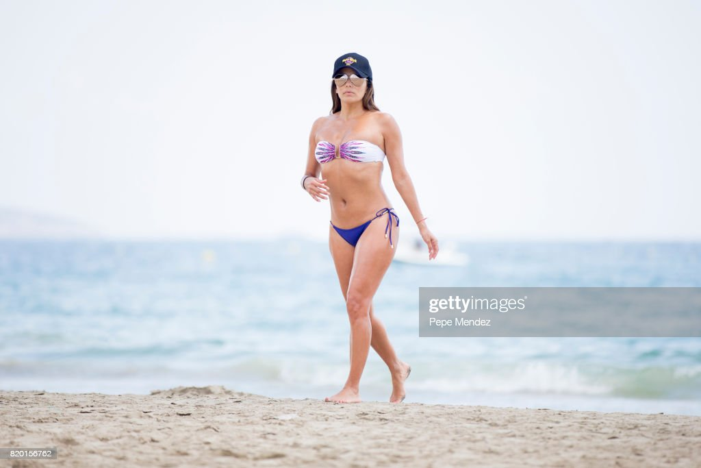 Eva Longoria is seen playing volleyball during Global Gift Gala Party at Hard Rock Hotel Ibiza on July 21, 2017 in Ibiza, Spain.