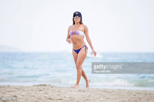 Eva Longoria is seen playing volleyball during Global Gift Gala Party at Hard Rock Hotel Ibiza on July 21 2017 in Ibiza Spain