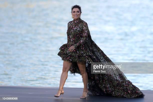 Eva Longoria is seen walking on the runway of Le Defile L'Oreal Paris as part of Paris Fashion Week Womenswear Spring/Summer 2019 on September 30...