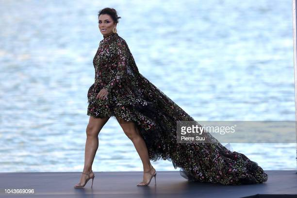 Eva Longoria is seen walking on the runway of Le Defile L'Oreal Paris as part of Paris Fashion Week Womenswear Spring/Summer 2019 on September 30...