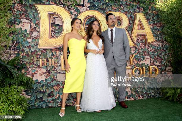 "Eva Longoria, Isabela Moner, and Michael Peña attend the ""Dora and the Lost City of Gold"" World Premiere at the Regal LA Live on July 28, 2019 in Los..."