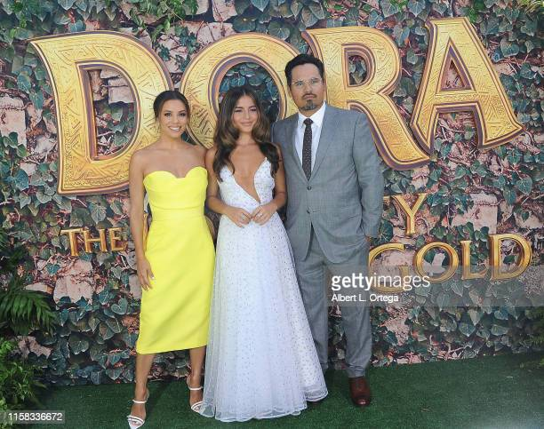 Eva Longoria Isabela Moner and Michael Pena attend the LA Premiere Of Paramount Pictures' Dora And The Lost City Of Gold held at Regal Cinemas LA...
