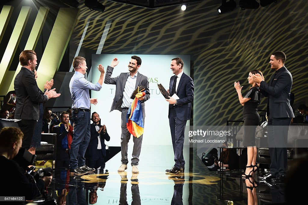 Eva Longoria joins judges and finalist on stage at Chivas' The Venture Final Event on July 14, 2016 in New York City.