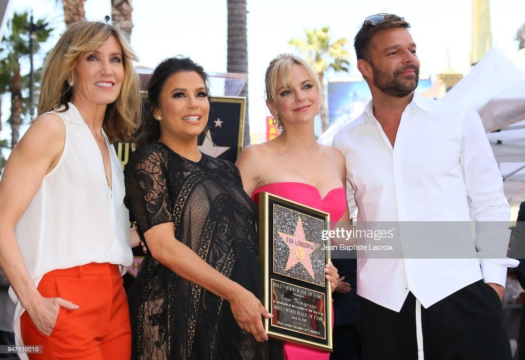 Eva Longoria, Leron Gubler, Felicity Huffman, Anna Faris, Mitch O'Farrell and Ricky Martin attend a ceremony honoring her with a star on the Hollywood Walk of Fame on April 16, 2018 in Hollywood, California.