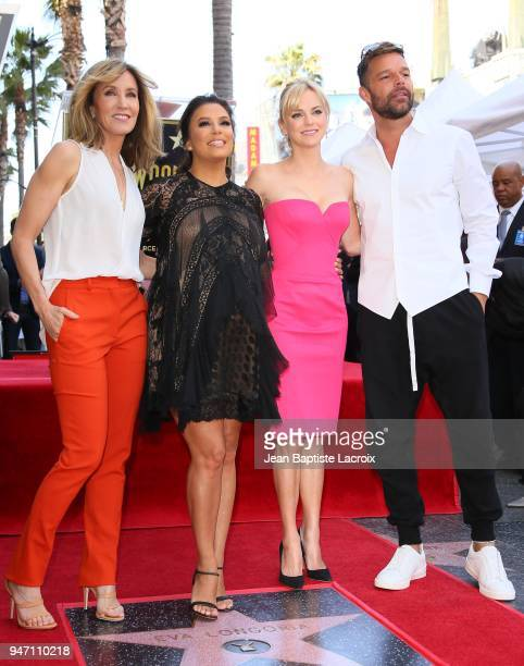 Eva Longoria Leron Gubler Felicity Huffman Anna Faris Mitch O'Farrell and Ricky Martin attend a ceremony honoring her with a star on the Hollywood...