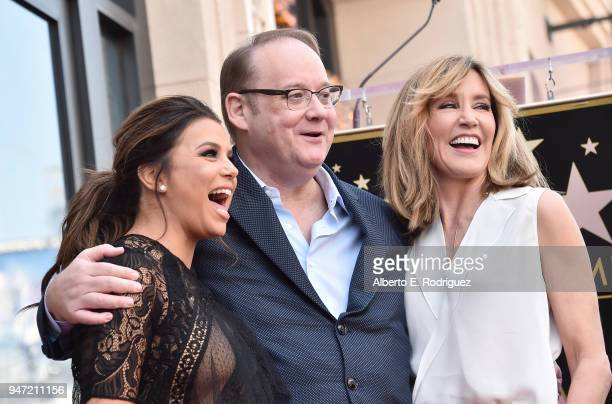 Eva Longoria Marc Cherry and Felicity Huffman attend a ceremony honoring Eva Longoria with the 2634th Star on the Hollywood Walk of Fame on April 16...