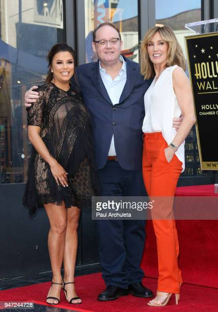 Eva Longoria, Marc Cherry and Felicity Huffman attends the ceremony to honor Eva Longoria with a Star on The Hollywood Walk Of Fame on April 16, 2018...