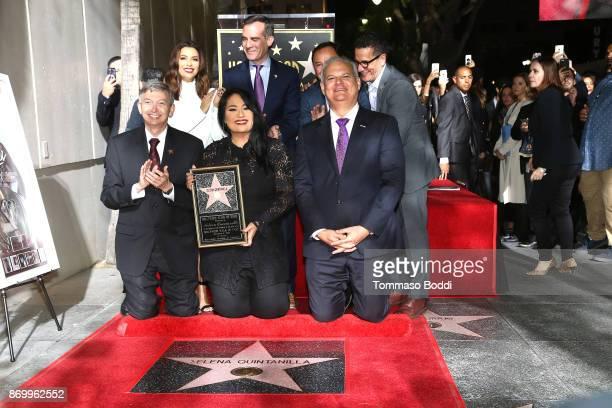 Eva Longoria Mayor of Los Angeles Eric Garcetti Victor Gonzalez and Suzette Quintanilla Leron Gubler attend a ceremony honoring Selena Quintanilla...
