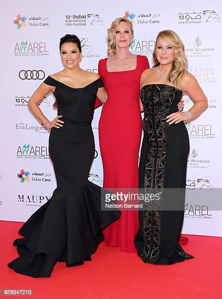 Eva Longoria Melanie Griffith and Anastacia attend the Global Gift Gala during day six of the 13th annual Dubai International Film Festival held at...