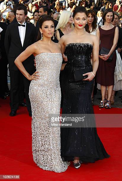 Eva Longoria Parker and Aishwarya Rai attend the Premiere of 'On Tour' at the Palais des Festivals during the 63rd Annual International Cannes Film...