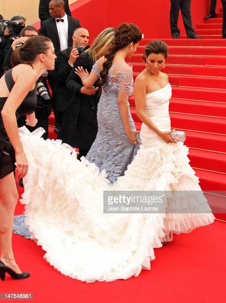 Eva Longoria Parker and Aishwarya Rai Bachchan attend the Opening Night Premiere of 'Robin Hood' at the Palais des Festivals during the 63rd Annual...