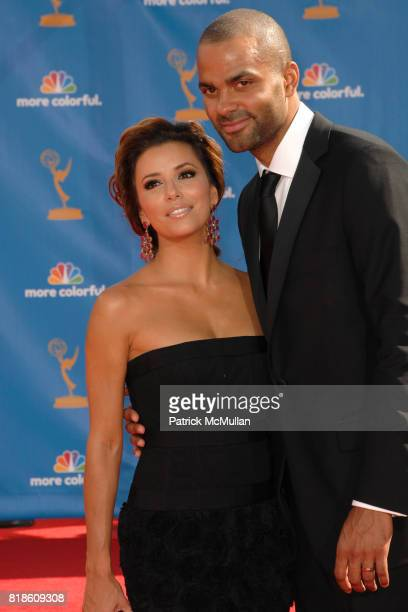 Eva Longoria Parker and Tony Parker attend 62nd Annual Primetime Emmy Awards Arrivals at Nokia Theatre LA Live on August 29 2010 in Los Angeles CA