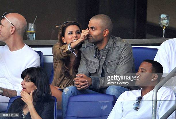 Eva Longoria Parker and Tony Parker attend the Los Angeles Galaxy vs. New York Red Bulls game at Red Bull Arena on August 14, 2010 in Harrison, New...