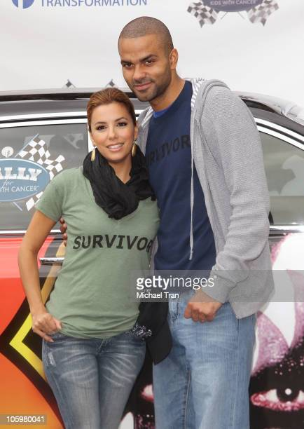 Eva Longoria Parker and Tony Parker attend the Rally For Kids With Cancer 'Start Your Engines' brunch held at The Roosevelt Hotel on October 23 2010...