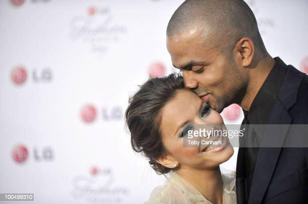 Eva Longoria Parker and Tony Parker pose for a picture at the Victoria Beckham and Eva Longoria Parker Night of Fashion Technology with LG Phones...