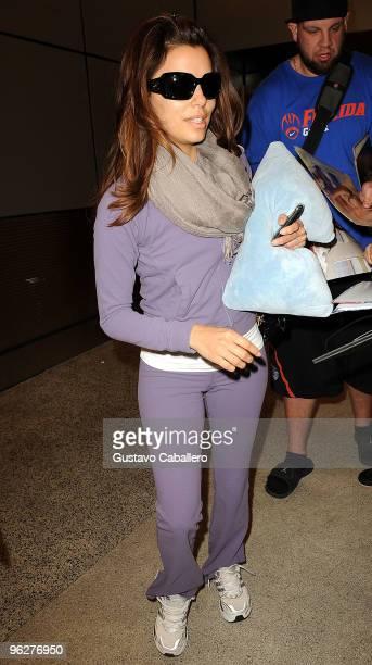 Eva Longoria Parker arrives at Miami International Airport on January 30 2010 in Miami Florida