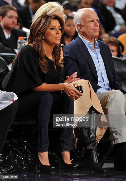 Eva Longoria Parker sits next to US Sen John McCain and his wife Cindy McCain as they watch the 58th NBA AllStar Game part of 2009 NBA AllStar...