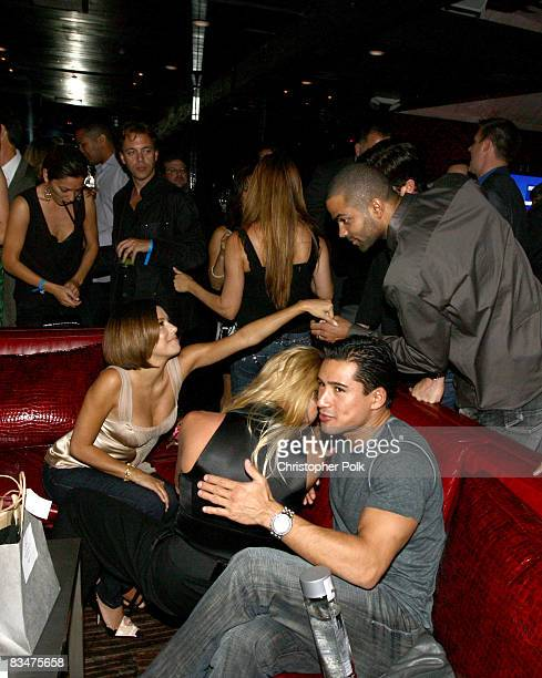 """Eva Longoria Parker, Tony Parker, Nicolette Sheridan and Mario Lopez during the VIP Launch Party of EA Sports """"NBA Live '09"""" hosted by Tony Parker at..."""