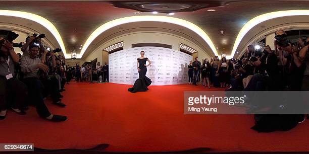 Eva Longoria poses for photographers at the Global Gift Gala during day six of the 13th annual Dubai International Film Festival on December 12 2016...