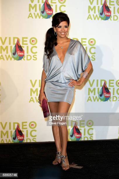 Eva Longoria poses in the press room during the 2005 MTV Video Music Awards at the American Airlines Arena on August 28, 2005 in Miami, Florida.