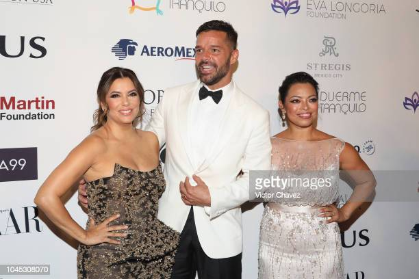 Eva Longoria, Ricky Martin and Alina Gutierrez Peralta attend the Global Gift Gala red carpet at St Regis hotel on October 3, 2018 in Mexico City,...