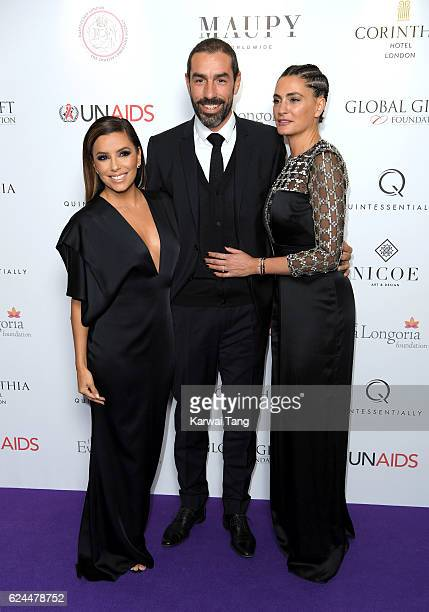 Eva Longoria, Robert Pires and Jessica Lemarie attend the Global Gift Gala in partnership with Quintessentially on November 19, 2016 at the...