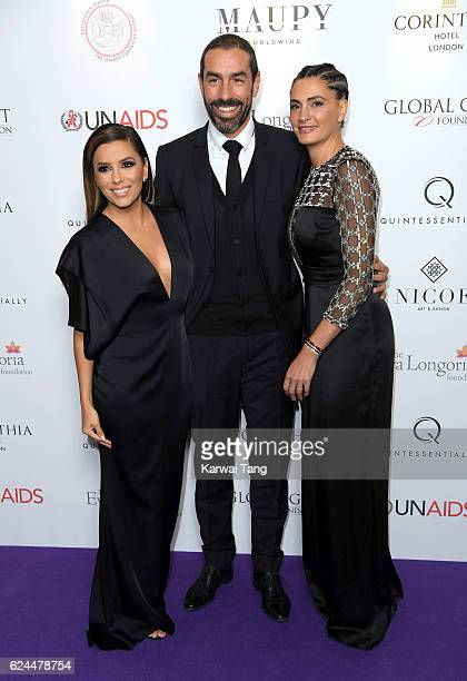 Eva Longoria Robert Pires and Jessica Lemarie attend the Global Gift Gala in partnership with Quintessentially on November 19 2016 at the Corithinia...