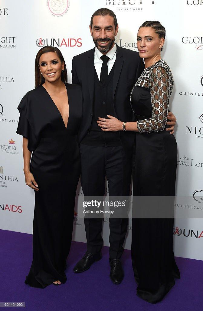 Eva Longoria, Robert Pires and Jessica Pires attend the Global Gift Gala London on November 19, 2016 in London, United Kingdom.