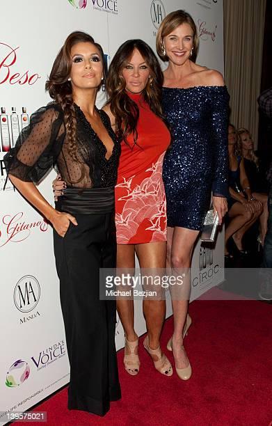 Eva Longoria Robin Antin and Brenda Strong attend PreOscar Flamenco Night Hosted By Eva Longoria Benefiting Linda's Voice Red Carpet at Beso on...