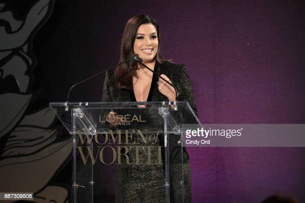 Eva Longoria speaks onstage during the L'Oreal Paris Women of Worth Celebration 2017 on December 6 2017 in New York City
