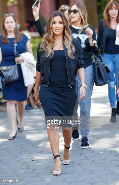 Eva Longoria walks around in Washington Square Park on September 15 2017 in New York City