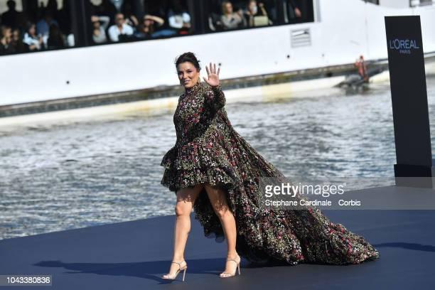 Eva Longoria walks the runway during Le Defile L'Oreal Paris as part of Paris Fashion Week Womenswear Spring/Summer 2019 on September 30 2018 in...