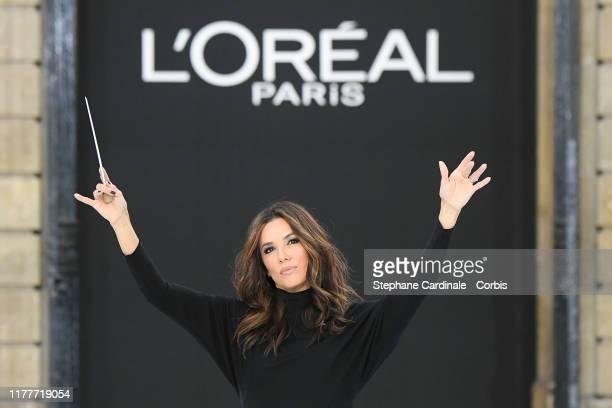 "Eva Longoria walks the runway during the ""Le Defile L'Oreal Paris"" Show as part of Paris Fashion Week on September 28, 2019 in Paris, France."