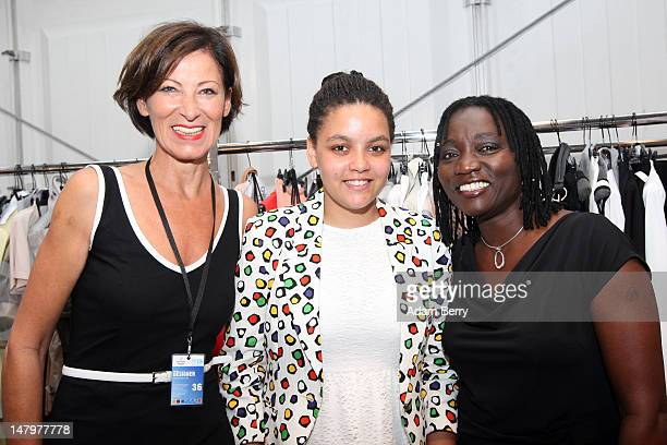 Eva Luft Auma Obama and daughter Akini pose backstage ahead of the Minx By Eva Lux Show at MercedesBenz Fashion Week Spring/Summer 2013 on July 7...