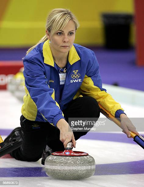 Eva Lund of Sweden releases the stone during the preliminary round of the women's curling between Sweden v Russia during Day 10 of the Turin 2006...