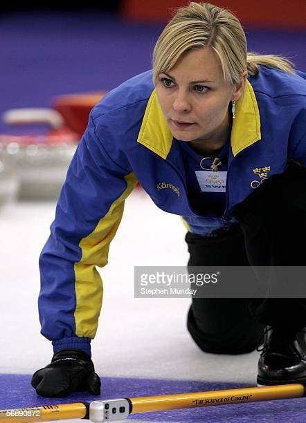 Eva Lund of Sweden watches the path of the stone during the preliminary round of the women's curling between Sweden v Russia during Day 10 of the...