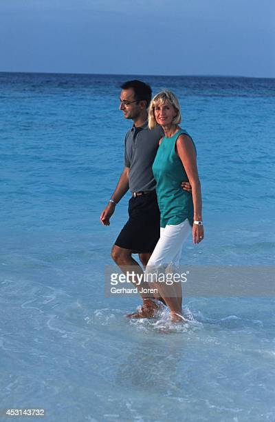 Eva Malmstrom Creative Director and her husband Sonu Shivdasani Chairman CEO of the leading spa and resort company Six Senses at Soneva Fushi in the...
