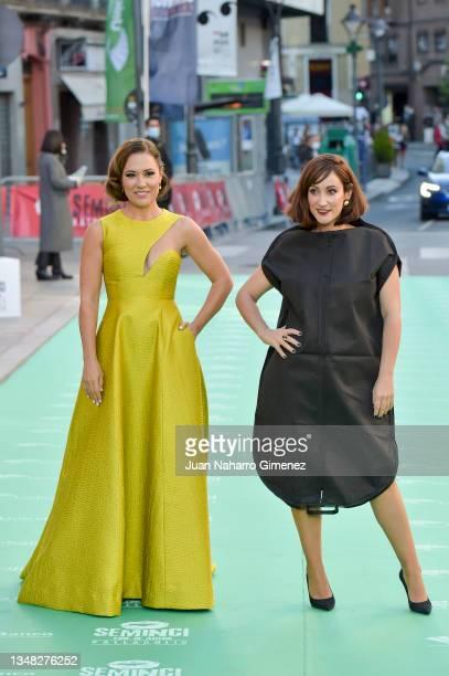 Eva Marciel and Ana Morgade attend the 'Libertad' premiere during the 66th SEMINCI-Valladolid International Film Festival on October 23, 2021 in...