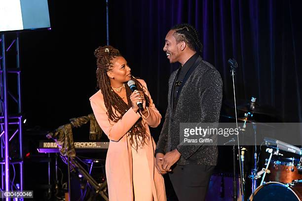 Eva Marcille and Clay West speak onstage at 9th Annual Celebration 4 A Cause Fashion Show at King Plow Arts Center on December 22 2016 in Atlanta...