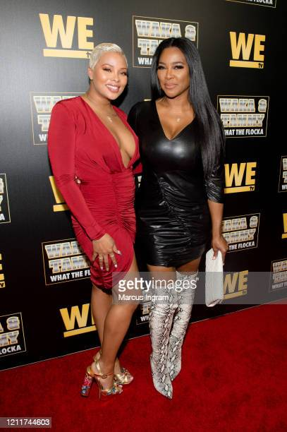 Eva MarcilleSterling and Kenya Moore attend the WE tv Waka Tammy What The Flocka premiere event at Republic Lounge on March 10 2020 in Atlanta Georgia