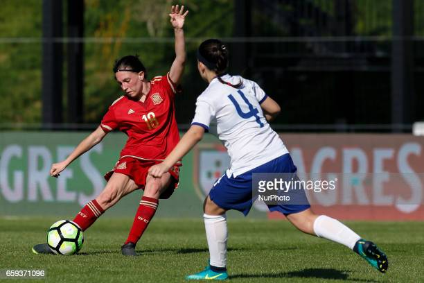 Eva Maria Navarro of Spain during the UEFA U17 Women's Championship Qualifier match between Spain and Portugal at Cidade do Futebol stadium on March...