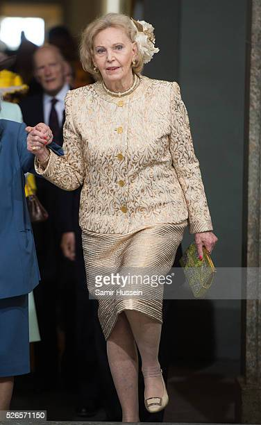 Eva Maria O'Neill arrives at the Royal Palace to attend Te Deum Thanksgiving Service to celebrate the 70th birthday of King Carl Gustaf of Sweden on...