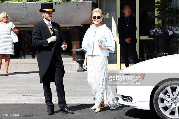 Eva Maria O'Neill departs The Grand Hotel to attend the wedding of Princess Madeleine of Sweden and Christopher O'Neill hosted by King Carl Gustaf...