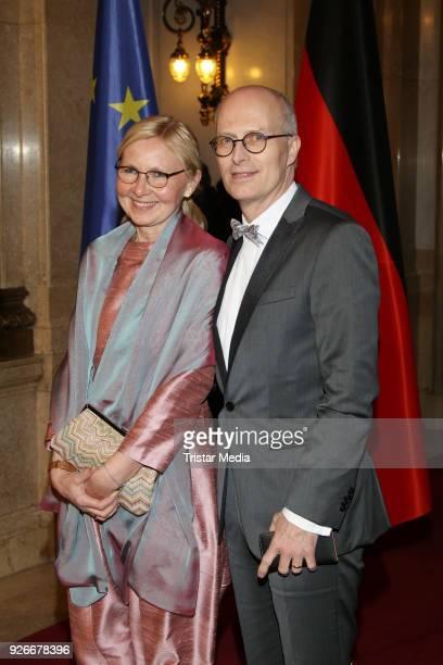 Eva Maria Tschentscher and Peter Tschentscher attend the Matthiae Mahl on March 2, 2018 in Hamburg, Germany.